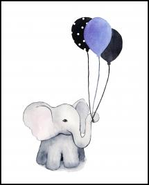 Elephant With Balloons Poster