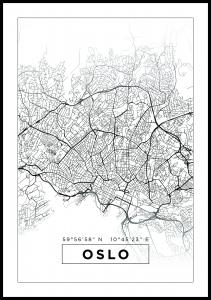 Karta - Oslo - Vit Poster