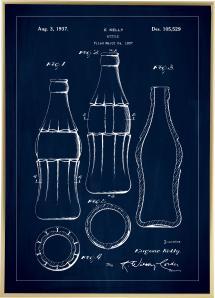 Patentritning - Coca Cola-flaska - Blå Poster