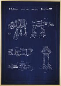 Patentritning - Star Wars - Walker - Blå Poster