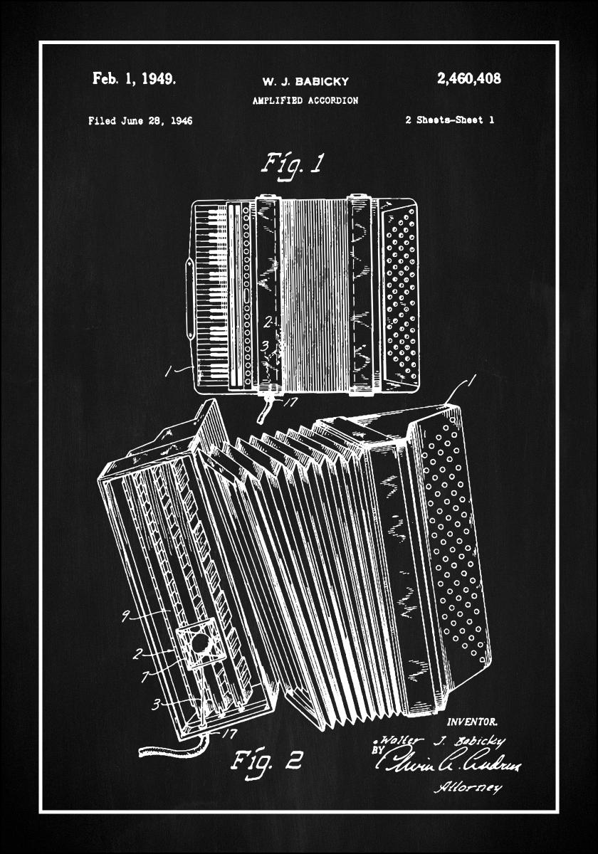 Bildverkstad Patent Print - Amplified Accordion I - Black