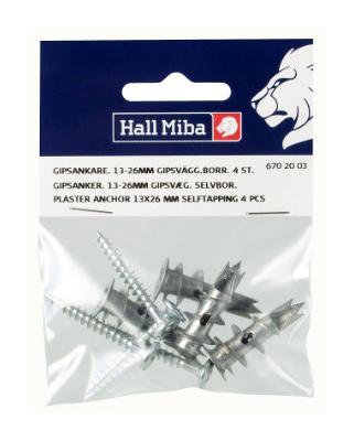 Skruv och självborrande plugg för gipsvägg - 4-pack (13x26 mm)